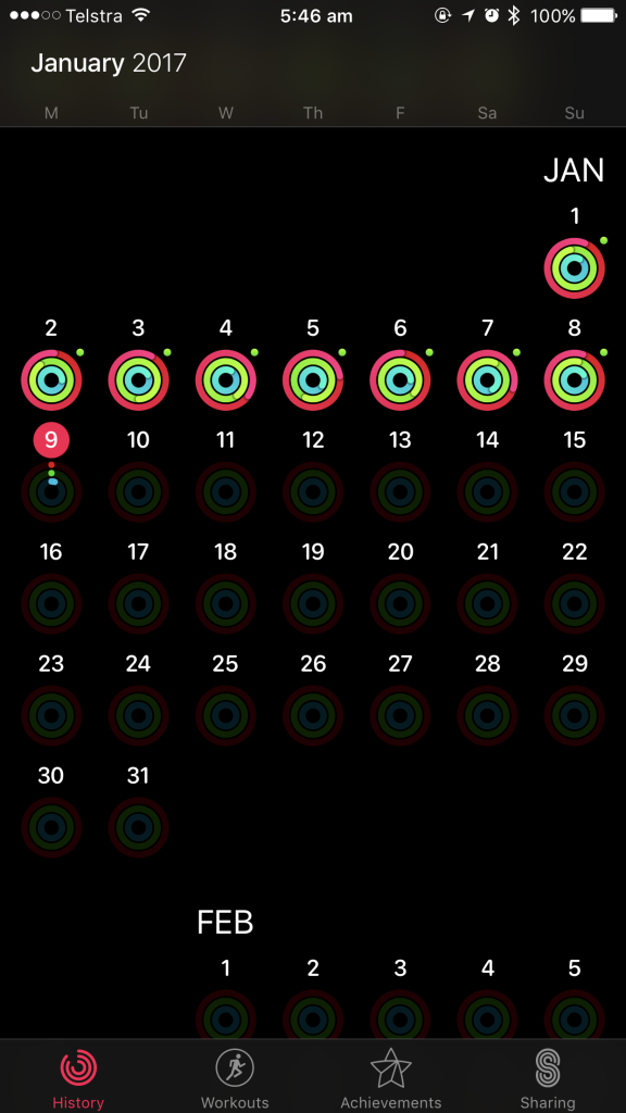Activity rings for January