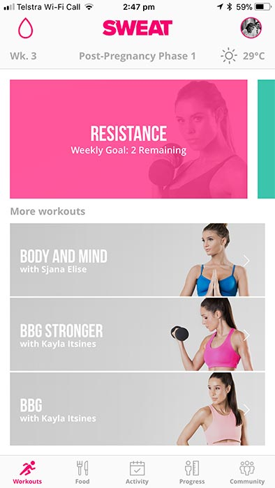 Sweat app by Kayla Itsines - workouts