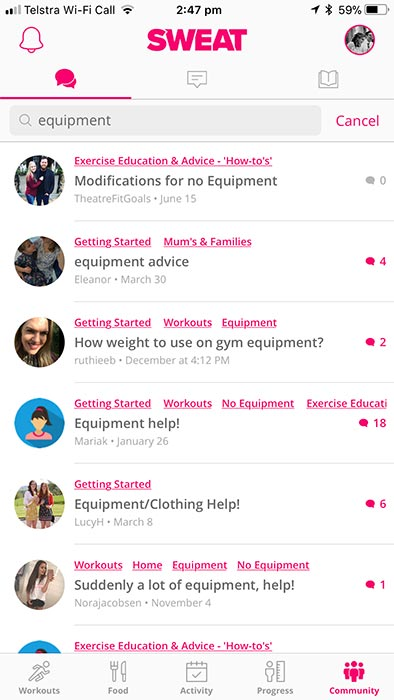 Sweat app by Kayla Itsines - forums