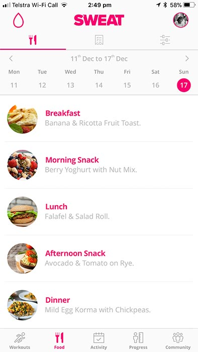 Sweat app by Kayla Itsines - meal plan