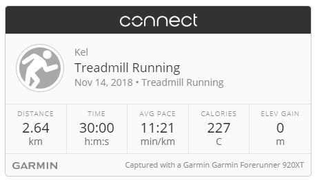 Garmin treadmill run 14-11-18